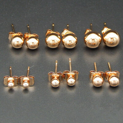 Rose Gold Stainless Steel  Mini Small Round Bead Ball Stud Earrings Size 3-6mm
