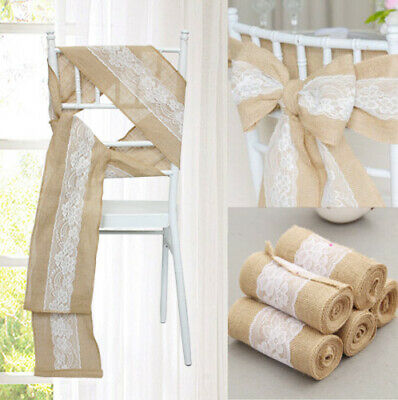 50 Hessian Lace Chair Cover Sashes Sash Roll FULLER BOW Table Runner