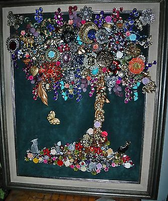 Jewelry Art Tree of Life, large size,  MultiColor, and Sparkle, signed by Artist
