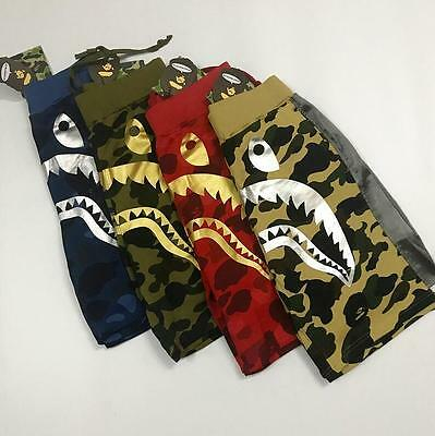 2017 Unisex Camo Shorts Bape Gold and Silver Shark Jaw Icon a bathing Pants ape