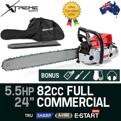 "82cc Baumr AG Commercial Petrol Chainsaw E-Start 24"" Bar Tree pruning 6 HP"