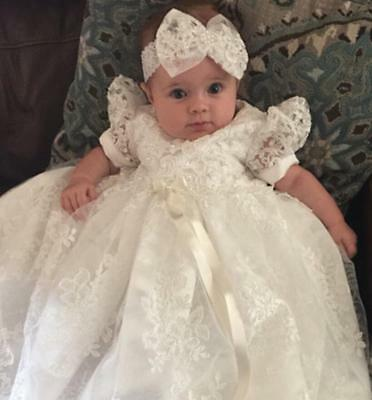 White Bowknot Baptism Dresses Infant Baby Girl Dress Pageant Christening Gowns