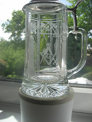 German Glass Bierseidel Hand Engraved By Wheel With Profusion - Masonic Symbols