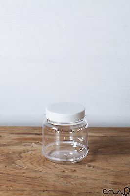 10/20/50 x Clear Plastic Small Jar Storage Round White Screw Cap Container 170ml