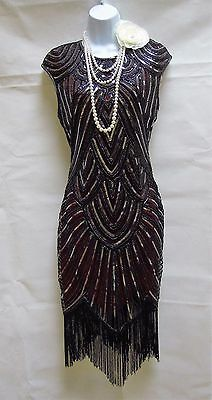 1920's Gatsby Vintage Charleston Sequin Tassel Flapper Dress 10 12 14 16 18