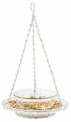 Hobnail Glass Bird Feeder With Bowl and Hanger