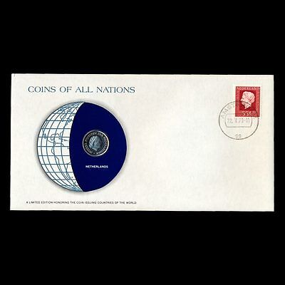 Netherlands 25 Cents 1979 Fdc / Coins Of All Nations Uncirculated Stamp Cover