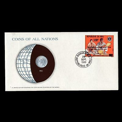 Mali 5 Francs Maliens 1961 Fdc ─/ Coins Of All Nations Uncirculated Stamp Cover