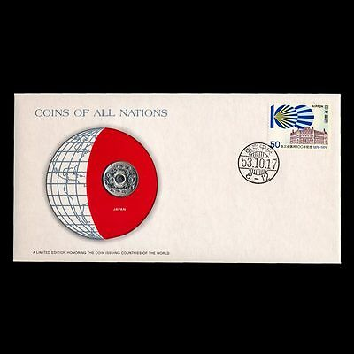 Japan 50 Yen 1978 Fdc / Coins Of All Nations Uncirculated Stamp Cover