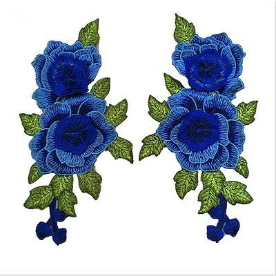 1Pair Flower Craft Rose Sew/Iron On Embroidered Applique Patch