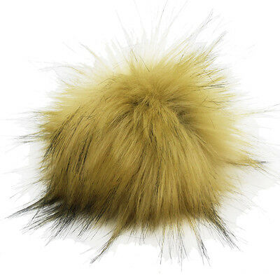 DIY 4.3inch Faux Raccoon Fur Pom Poms Ball for Knitting Beanie Hats Accessories
