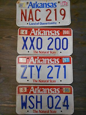 "Lot of 4 Expired Arkansas ""The Natural State"" License Plates 89 96 97 98"