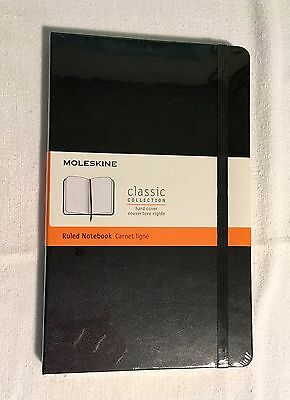 NEW Moleskine Classic Hard Cover Ruled Notebook, Black, 240 pages, 5 x 8 1/4""