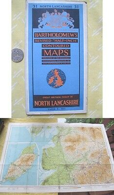 Vintage Map,GREAT BRITAIN,North Lancashire,BARTHOLOMEW'S,Color,C.1950's