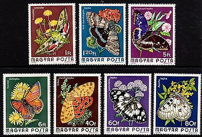 Hungary 1974 Butterflies 7 Values Complete Set Unmounted Mint FREEPOST