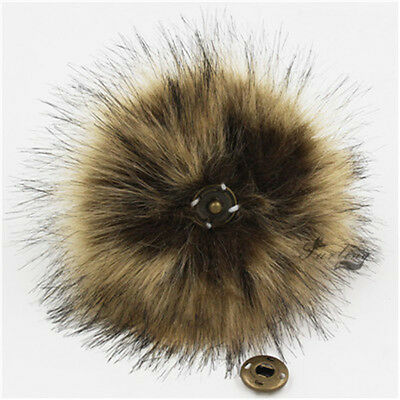 1pc Faux Fox Fur Pom Pom for Hat with Press Button Fake Fur Hat Bubble Removable