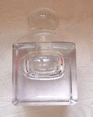 Vintage Glass Perfume Bottle Square Solid Clear w Glass Stopper