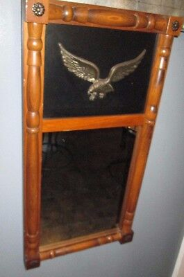 VTG Wood Frame Mirror 2 Part w/Eagle CORNWALL WOOD PRODUCTS 29 X 15 INS NICE