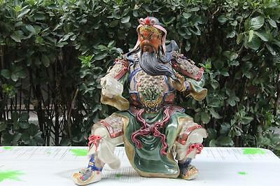 China pottery Art porcelain Read Book GuanGong GuanYu Warrior God Buddha Statue