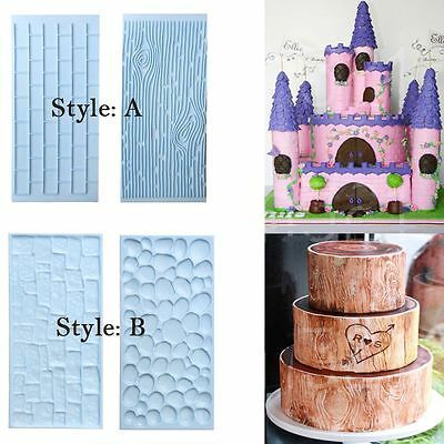 2 Pcs/set Baking Mold Fondant Cake Mould Brick Wall Wood Grain Impression