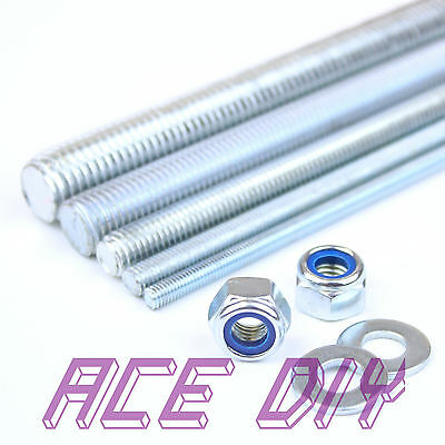 1 Metre Threaded Rod + 4 Free Nyloc Nuts & 4 Washers per Bar M6 to M30 BZP Steel