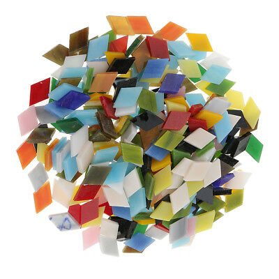 300pcs Multicolor Rhombus Glass Pieces Mosaic Tiles for Art Crafts 12mm