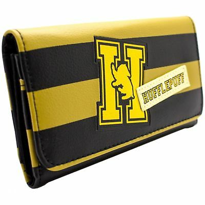 New Official Harry Potter Hufflepuff House Logo Yellow Striped Tri-Fold Purse