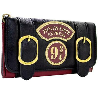 New Official Harry Potter Hogwarts Express Double Buckle Red Tri-Fold Purse