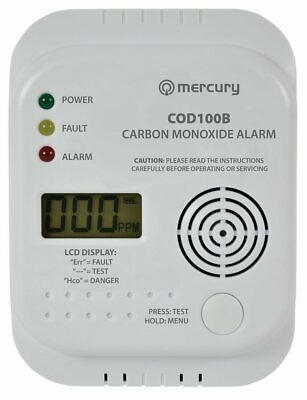 Mercury Carbon Monoxide Co Digital Alarm Sensor Detector with Temp LCD Display