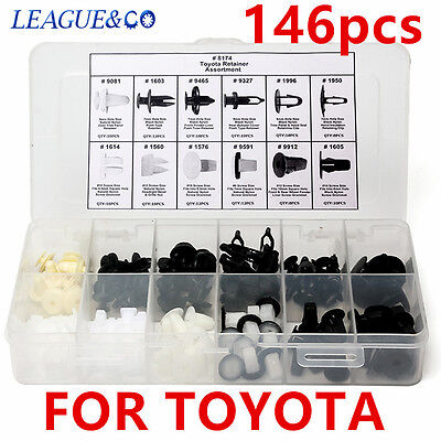 146Pc Plastic Fender Liner Fastener Rivet Push Clips Retainer For Toyota Series