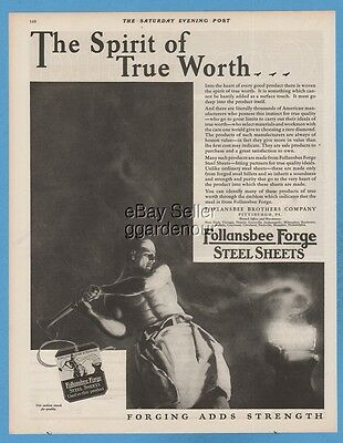 1928 Follansbee Brothers Co Pittsburgh PA Forge Steel Sheets Steelworker art Ad