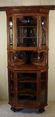 Antique Oak Tall Corner China Cabinet with Beveled Glass Panels