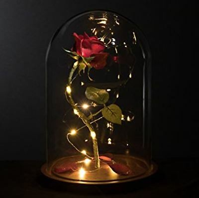 Disney Beauty and the Beast Enchanted Rose Fairy Tale Belle Glass Prop Life Size