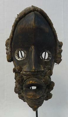Rare Antique Carved Wooden African Tribal Mask on Stand