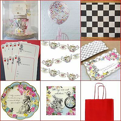 Truly Alice  In Wonderland Vintage Tea Party Plates Cups Bowls Bunting Invites