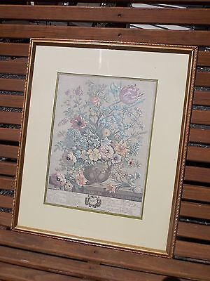 Vintage FURBER Engraving May Floral Flowers Matted and Framed (H. Fletcher)