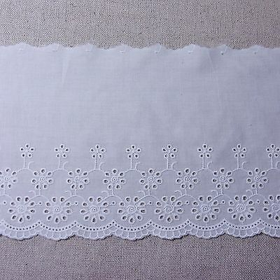 "Wide White 1Yd 8.7/"" Cotton Lace Fabric Embroidered Flowers Cotton Lacework 22cm"