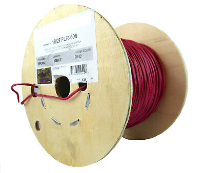 2C/18 Awg Solid Copper Red Fire Alarm Wire  Security Cable Fplr Pvc 500 Ft Ul