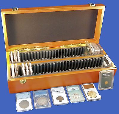 Wood Storage Case Box 60 Sixty Certified Coin Slabs PCGS NGC ANACS Premier Elite