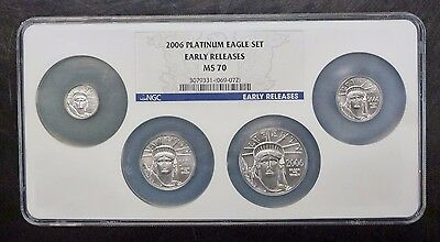 {BJSTAMPS}  2006 PLATINUM EAGLE 4 COIN Set NGC MS 70 EARLY RELEASES 1.85 ozT