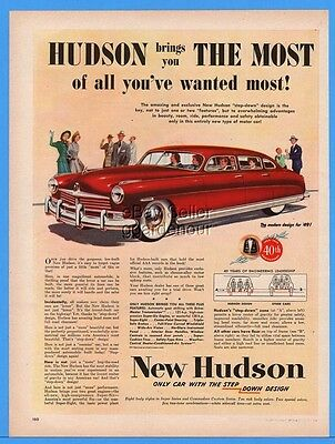 1949 Hudson Red 4 door Sedan art All You've Wanted Most Vintage car print ad