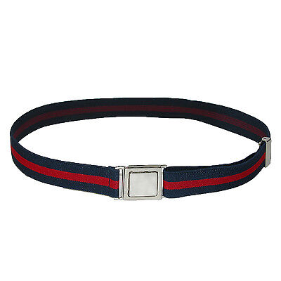 New CTM Kids' Easy Buckle Navy and Red Adjustable Stretch Belt