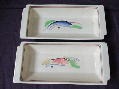 2 x Susie Cooper Crown Works Burslem - Cocktail / Hors d'oeuvres Serving Dishes