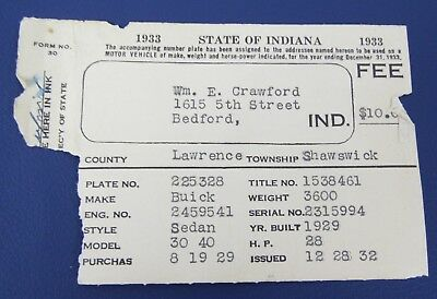 Vintage Collectible Paper 1933 Indiana Registration For 1929 Buick Sedan Car