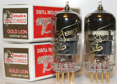 Matched Pair Genalex Gold Lion ECC88/6922 tubes, Brand New !