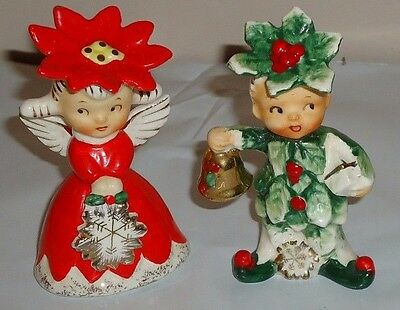 Vintage NAPCO ceramic CHRISTMAS SWEETHEARTS Salt Pepper Shakers Set w/Box Japan