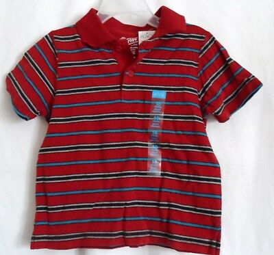 Boys 18 Month Reddish Rust Sharp Striped Polo Shirt Nwt ~ The Children's Place