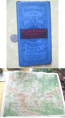 Vintage Map,ALDERSHOT DISTRICT,Bartholomew's Tourists,Cyclists,C.1920,Color