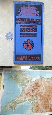 "Vintage Map,NORTH WALES,UK,Bartholomew's 1/2"" Contour,Sheet 11,Color,C.1920"