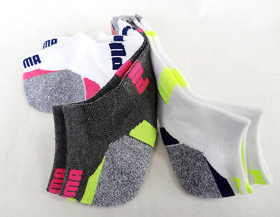 PUMA Women's LOW CUT Socks CUSHIONED 3 Pairs 9-11 Multi-Colors - New!